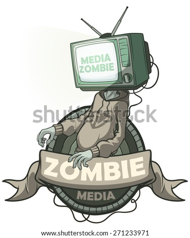Man Media zombie with retro tv instead of the head. Label isolated - stock vector
