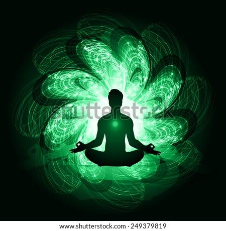 man meditate abstract radius background, yoga. - stock vector