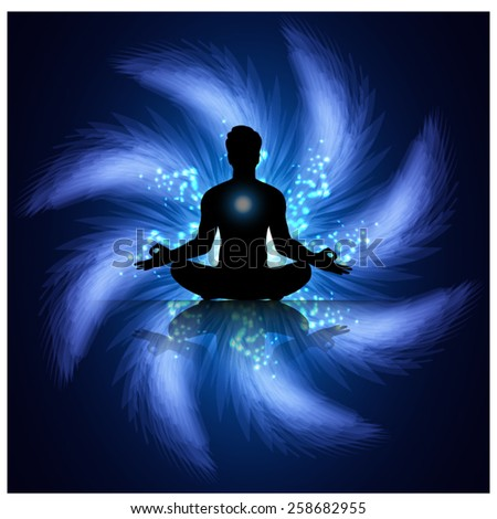 man meditate blue abstract radius background, yoga. - stock vector