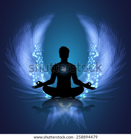 man meditate blue abstract radius background, yoga. angel wings - stock vector