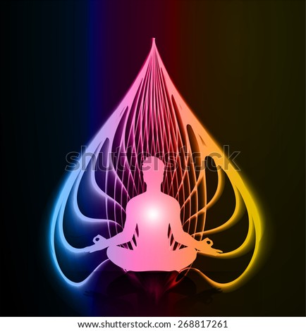 man meditate blue pink yellow fire abstract radius background, yoga. - stock vector