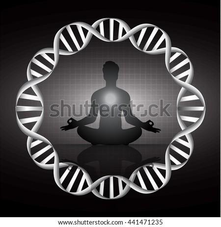man meditate dark black abstract background, yoga. ray. beam. Buddhist meditation, Hindu meditation. - stock vector