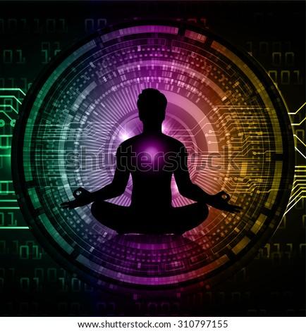 man meditate dark purple green orange circle abstract background, yoga. - stock vector