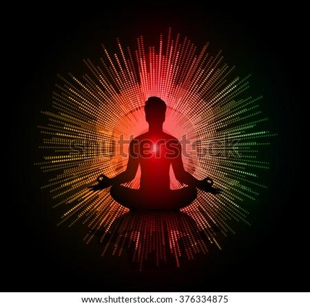 man meditate dark red green orange abstract circle background, yoga. beam. ray - stock vector