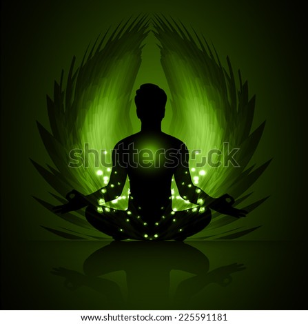 man meditate, yoga. Angel Wings. blue background.