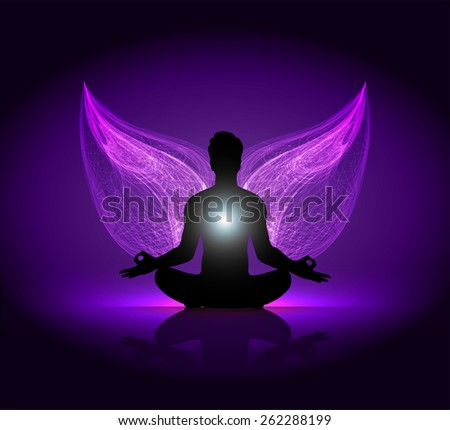 man meditate, yoga. Angel Wings. purple background. - stock vector