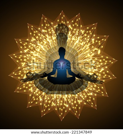 man meditate, yoga, Brown Background. - stock vector