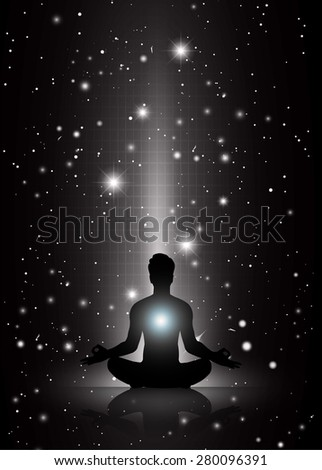 man meditate, yoga. on black sky background. star - stock vector