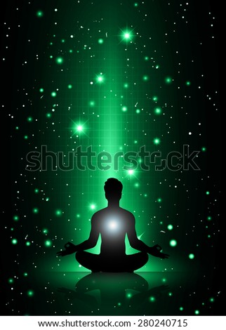 man meditate, yoga. on blue green orange sky background. star - stock vector