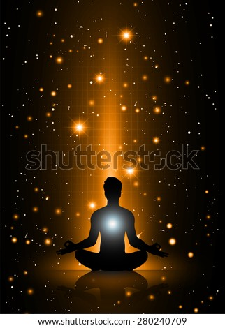 man meditate, yoga. on orange sky background. star - stock vector