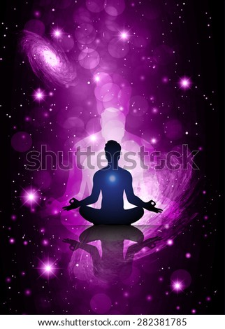 man meditate, yoga. Stars of a planet and galaxy in a free space. Dark purple Defocused Light, Flickering Lights, Vector abstract festive background with bokeh defocused lights. universe - stock vector