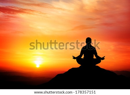 Man meditates in the nature. Vector illustration.  - stock vector