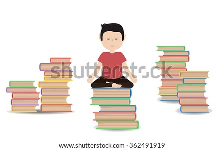 Man meditates on a pile of books.  Calm pose, harmony, body exercise sitting. Vector flat design illustration isolated.