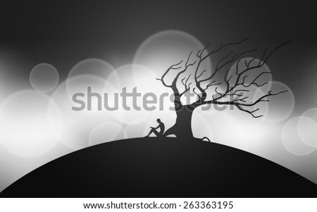 man meditating next to a tree silhouettes vector - stock vector