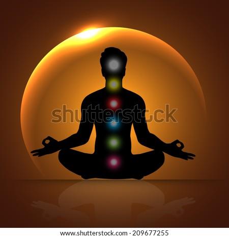 man meditating, yoga.  - stock vector