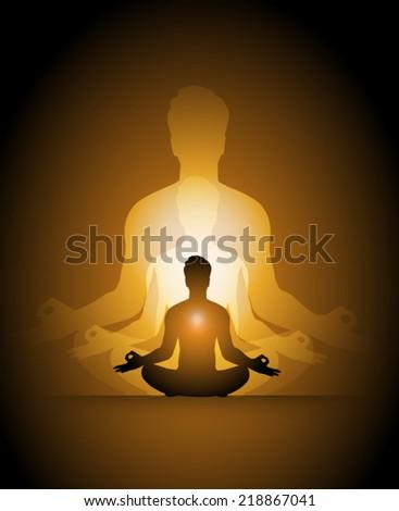 man meditation, yoga.  - stock vector
