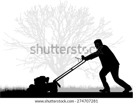 Man Mowing Lawn  - stock vector