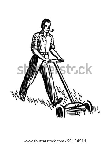 Lawn Mower Clipart Black And White Man mowing lawn retro clip art