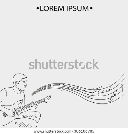man musician acoustic guitarist and music, sketch style. Music poster - stock vector