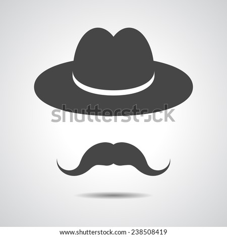 man mustache icon - black hat with mustache isolated on a grey background - stock vector