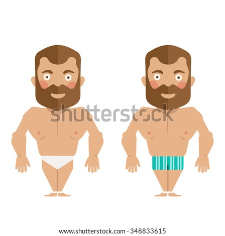 Man naked flat character in uderwear - stock vector