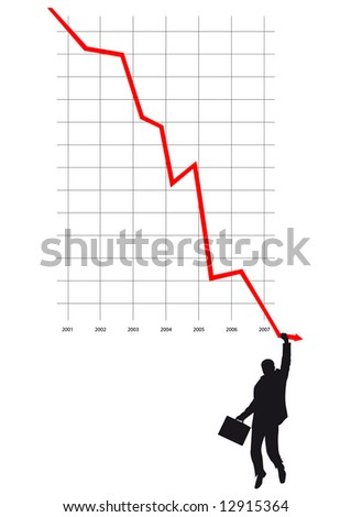 man of failure on graph - stock vector