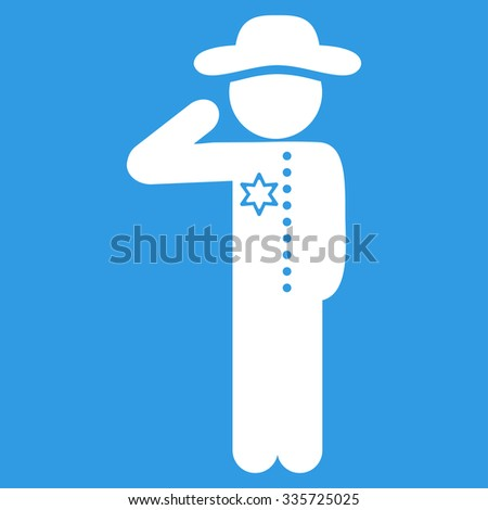 Man Officer vector icon. Style is flat symbol, white color, rounded angles, blue background.