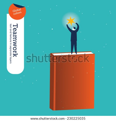 Man on a book catching a star. Vector illustration Eps10 file. Global colors. Text and Texture in separate layers. - stock vector