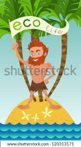 Man on a desert island.Illustration of the ecological theme. - stock vector