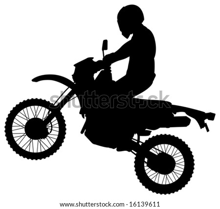 Man on a Jumping Dirt Bike Silhouette - stock vector