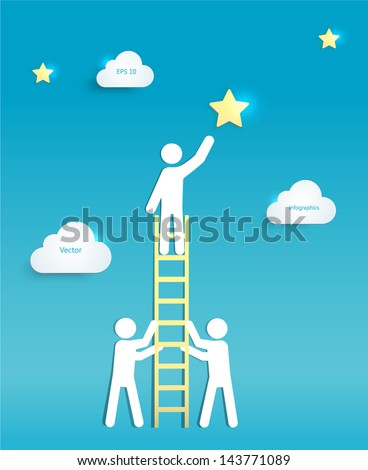 Man on a Ladder reaching for a Star. Support, Teamwork, Cooperation, Success and Achievement Concept. EPS 10 Vector  - stock vector