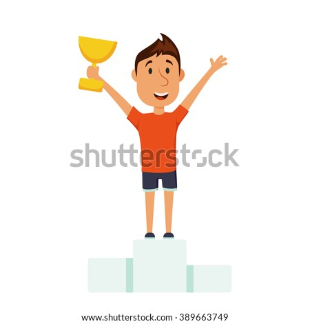 Man on a pedestal. Athlete win the competition. The final of marathon. Winner stands on a pedestal. The award for first place. Cartoon character with the cup on the podium. - stock vector