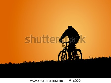 Man on bike in the evening (background, vector) - stock vector