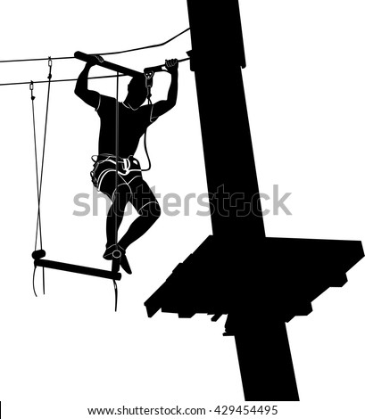 man on cables in an adventure park on a difficult course. park on a difficult course. Silhouette Adventure. adventure park. adventure park vector black silhouette isolated on white background - stock vector