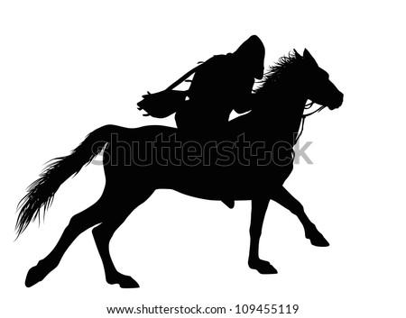 Man on horseback detailed silhouette. Vector illustration - stock vector