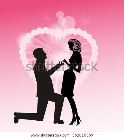 Man on Knee with ring - proposing to woman Retro Style - all separate elements  - stock vector
