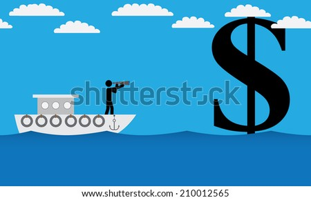 Man on ship is searching for money. It is a stick figure vector. EPS10  - stock vector