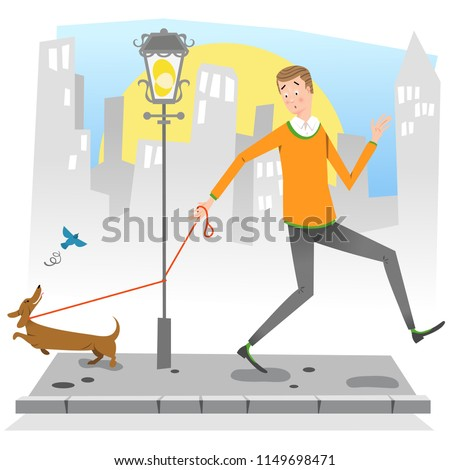 Man on sideway with dog chasing a bird, leash getting caught around street light pole (vector illustration)
