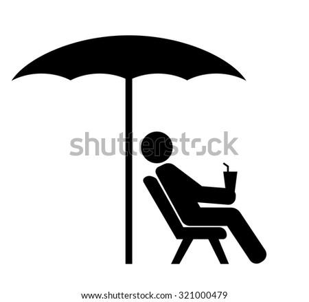 man on sunbed black icon - stock vector