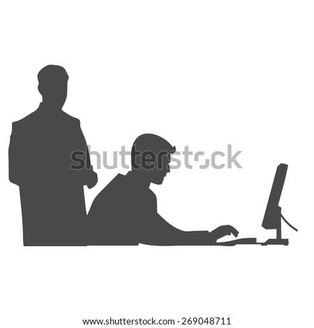 man on the computer shadows vector - stock vector
