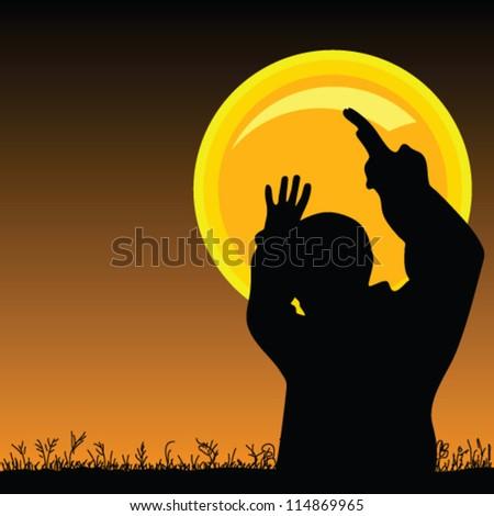 man on the moonlight vector sihouette illustration - stock vector