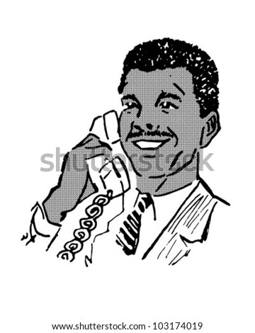 Man On The Phone 3 - Retro Clipart Illustration