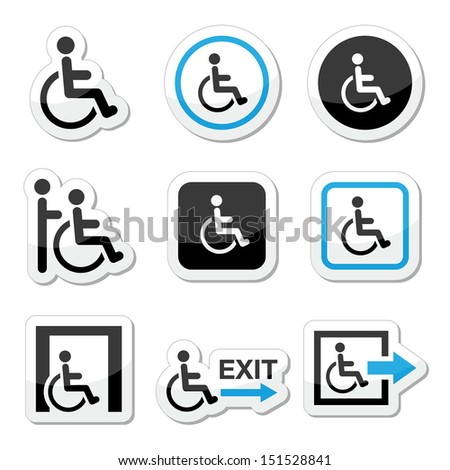 Man on wheelchair, disabled, emergency exit icons set  - stock vector