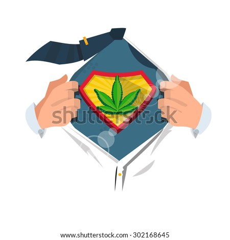 man open shirt to show marijuana leaf - vector illustration - stock vector