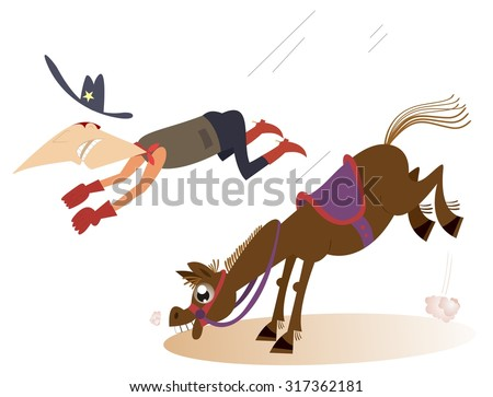 Man or cowboy falls from the horse   - stock vector