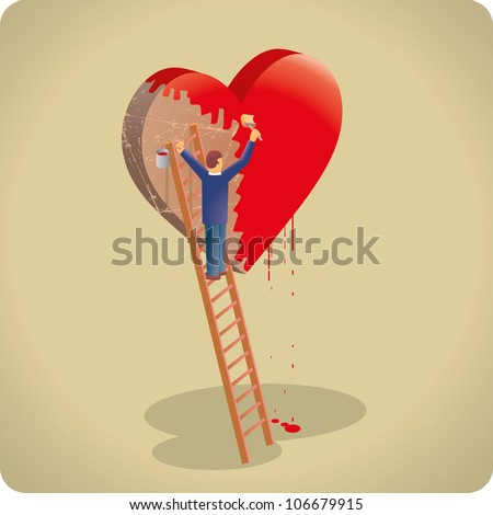 Man painting a giant floating heart cover of rust. Love concept. - stock vector