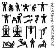 Man People Athletic Gym Gymnasium Body Building Exercise Healthy Training Fitness Workout Sign Symbol Pictogram Icon - stock photo
