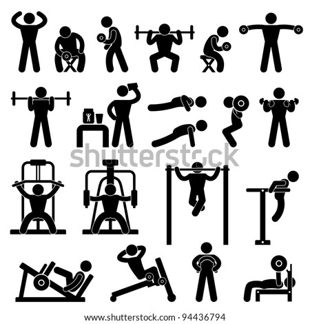 Man People Athletic Gym Gymnasium Body Building Exercise Healthy Training Fitness Workout Sign Symbol Pictogram Icon - stock vector