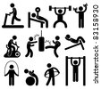 Man People Athletic Gym Gymnasium Body Building Exercise Healthy Training Workout Sign Symbol Pictogram Icon - stock vector