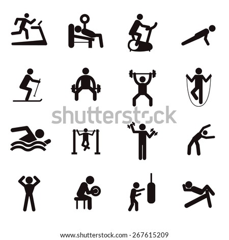 Man People Athletic Gym Gymnasium Body Building Exercise Healthy Training Workout Sign Symbol Pictogram Icon. - stock vector